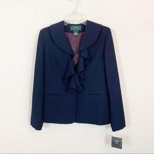 Lauren Ralph Lauren • Blue Ruffle Wool Blazer 6